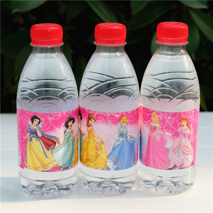 12pcs Princess Cinderella Beauty And The Beast Water Bottle Label Candy Bar Kids Birthday Party Supplies Baby Shower Party Favor