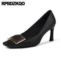 thin size 4 34 square toe high heels metal medium european pumps top quality office shoes women evening 2018 black celebrity