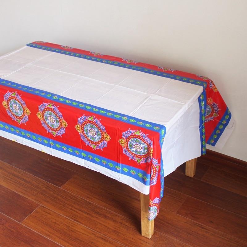 180*108cm Eid al-Fitr Ramadan Table Disposable Plastic Table Cloth Cover Tablecloth Waterproof For Moslem Islamism Decoration