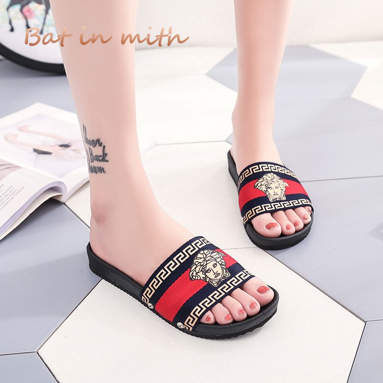 Plus size 35-42 summer Women flat Slides cozy Sandals Slippers Couples PU flip flops House slides Lovers Shoes Woman Flats S063 covoyyar 2018 fringe women sandals vintage tassel lady flip flops summer back zip flat women shoes plus size 40 wss765