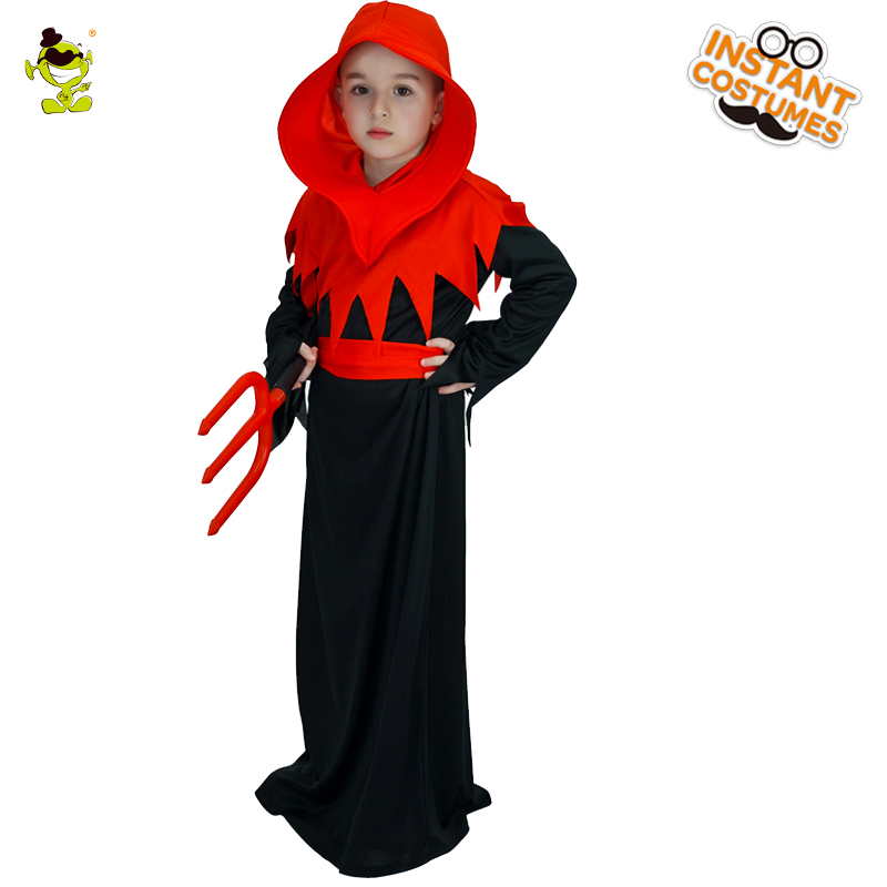 Hot Selling Boys Horror Devil Costumes with Red Hood Kids Halloween Masquerade Party Evil Demon Cosplay Fancy Clothes