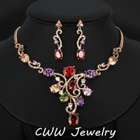 Adjustable Size Elegant Women Costume Accessories Multicolor Crystal 18K Gold Plated Jewelry Sets For Dinner Party