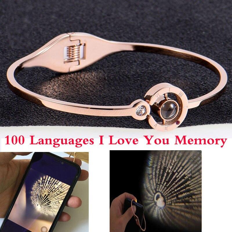 Amuleto de moda para mujer 100 idiomas I Love You pulsera de memoria acero oro rosa números romanos pulsera de moda de cristal