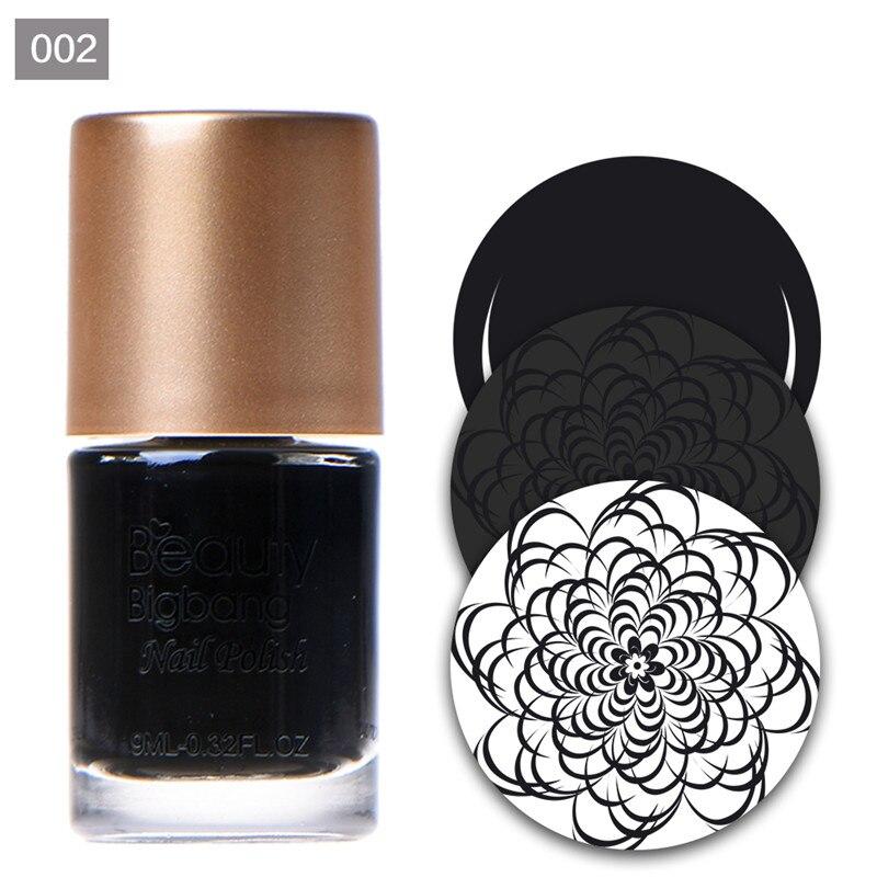 BeautyBigBang 9ml vernis à ongles couleur noire impression vernis laque pour Art des ongles estampage plaque Gel vernis à ongles  