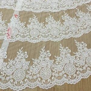 Image 3 - Luxo 5 metros borda cheia com laço que bling lantejoulas 3 camadas longo véu de casamento com pente branco marfim véu nupcial 2018 acessórios