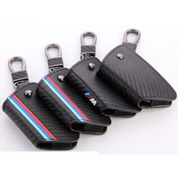 Carbon Fiber Leather Key Cover Case Holder Key Chain Cover Remote For BMW Key Case 1