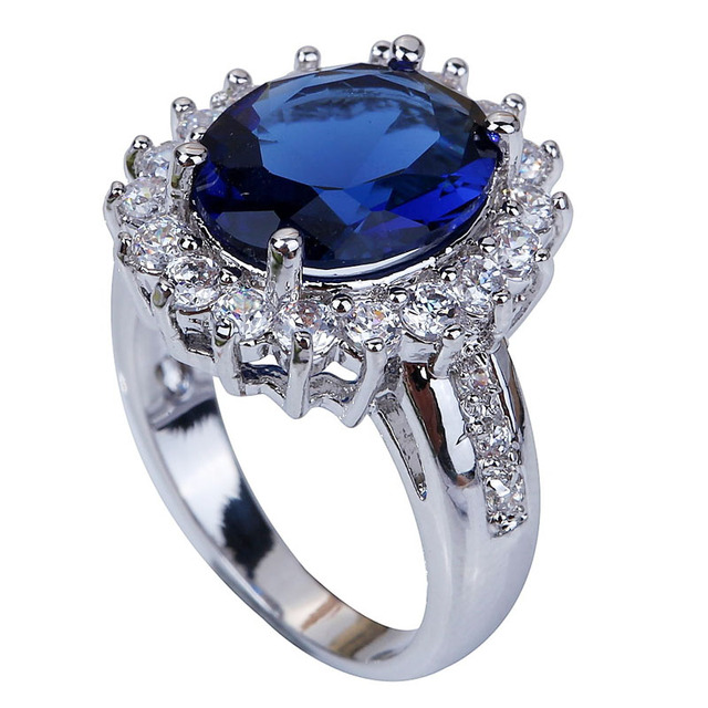 Blue Silver Plated Ring