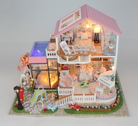 DollHouse Miniature Model Sweet Words house Furnitures Queen Wooden Creative Handmade Dollhouse Gifts Lovely Princess blocks