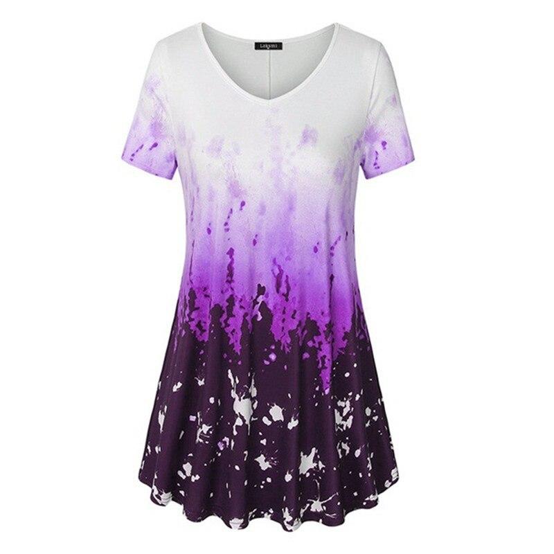 5XL גדול גודל קיץ 2019 חדש נשים חולצה קצר שרוול צווארון V מודפס מזדמן חולצה בתוספת גודל נשים בגדי אופנה סקסי חולצות
