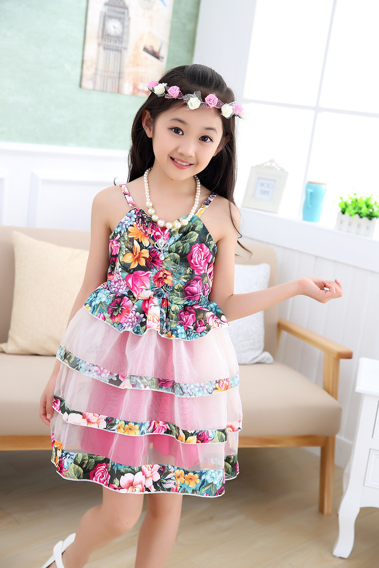 33e380e1d9d3 Free shipping 2015 summer baby girls dress Purple Rose Red Sling mesh  princess dress dance 3 10 years old kids dress-in Dresses from Mother   Kids  on ...