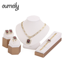 OUMEILY Wedding Party Necklace Jewelry Sets For Women Fashion Imitation Crystal&Rhinestone Gold Plated Pendant Accessories