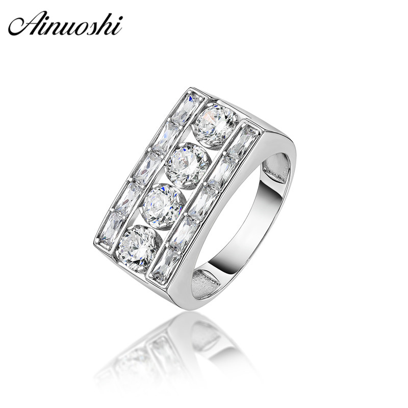 Ainoushi Fashion 925 Sterling Silver Men Wedding Engagement Rings