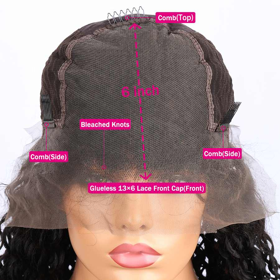 Elva Hair 13x6 Lace Front Wig Bleached Knots Remy Hair Curly Short Bob Wig Brazilian Lace Front Human Hair Wigs For Black Women