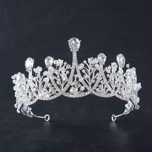 Crystal Silver Crown Headband Wedding Bridal Hair Accessories Pearl Rhinestone Bride Tiaras and Crowns Women Party Jewelry все цены