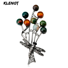 Antique Indian Agate Beads Brooch Colorful Retro Branch Pin with Dragonfly Pattern Women Carnelian Xmas Gift Jewelry