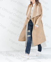 Ref 7522 242 Fashion Brand Genuine ZA 2015 Women Handmade Camel Extra Long Wool Belted Trench