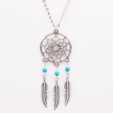 2015 turquoise natural stone necklaces & pendants indian jewelry christmas gift Hollow feather long statement necklaces N2097