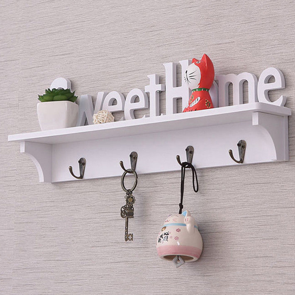 White Wall Hangers Wood-plastic Wall Hanging Hook Door Mounted Rack Coat Hat Clothes Key Hanger Home Storage Holder