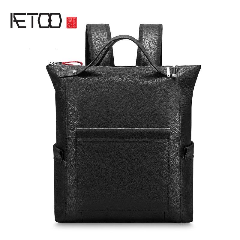 AETOO New leather shoulder bag men backpack fashion bag leisure business package simple personalized travel bag aetoo new men s shoulder bag oil wax canvas package retro leisure men package