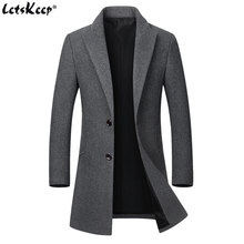 Letskeep Mens Winter Coat Long Business Wool Blends Overcoat Men Turn-down Collar Autumn Grey Woolen Peacoat Jacket, MA545(China)