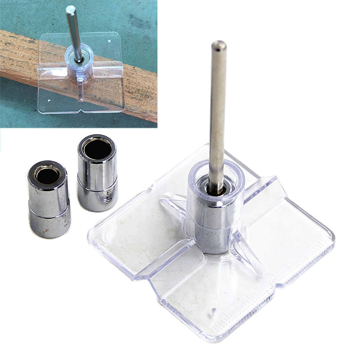 1Set Mini Pocket Hole Drill Dowel Jig Guide 6/8/10mm Woodworking Drilling Locator with Plastic Plate 1 4 hex twist 9 5mm diameter bits step drill woodworking drills bits set for kreg pocket hole drill jig guide