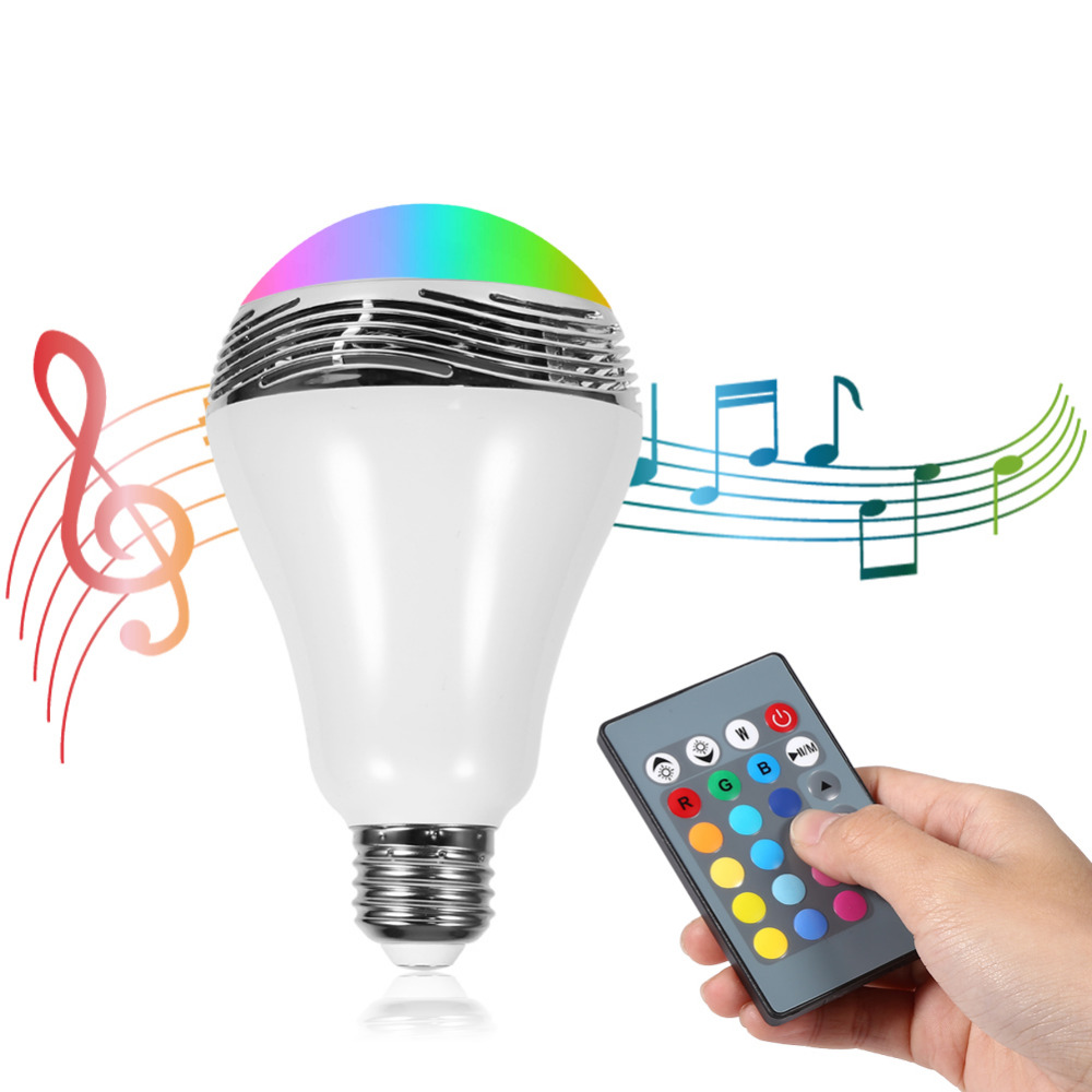 Intelligent E27 Wireless Bluetooth 2.1 LED RGB Bulb Light Music Audio Player Bulb  Lamp With Remote Control Durable Wholesale 2017 hot bluetooth multi function audio intelligent family host background music system lcd screen touch light dimmer 2 speakers