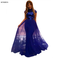 Sequin Lace Evening Dresses High Neck Cap Sleeves Sheath Long Royal Blue Formal Gowns Elegant Women Party Dress