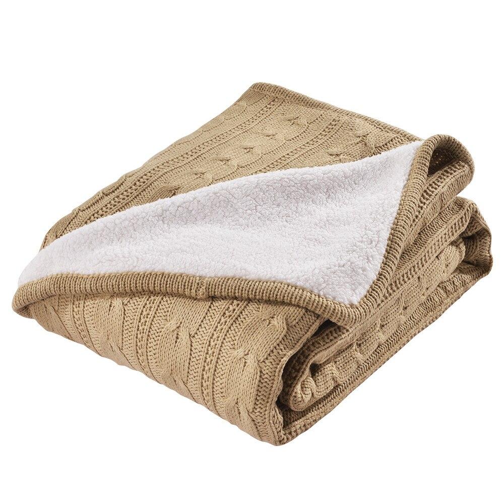 Camello color Sólido cintas de doble capa Manta cálida manta de lana ...