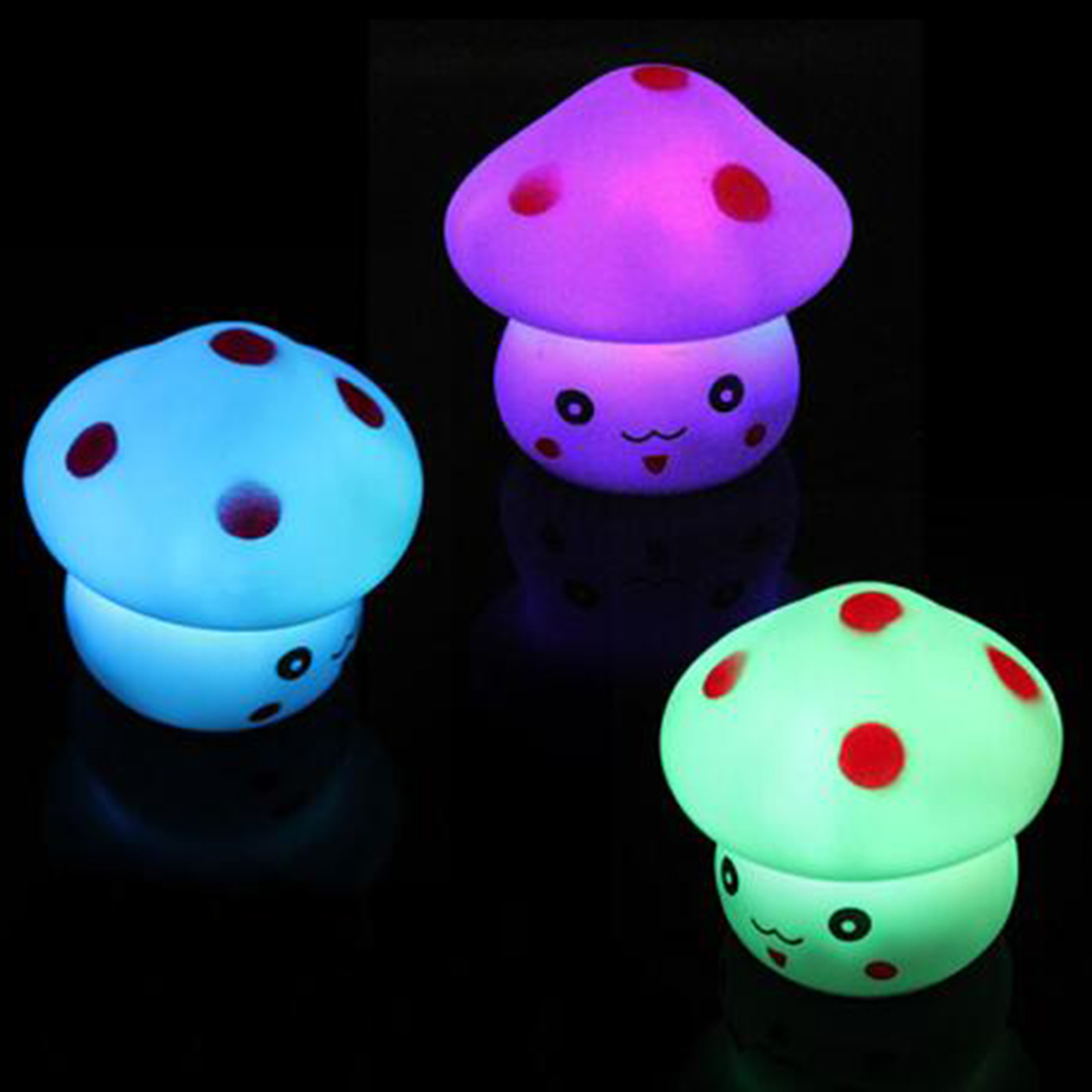 New 1pc LED Night Light Colorful Mushroom Press Down Touch Room Desk Bedside Lamp For Baby Kids Christmas Gifts Interior Design