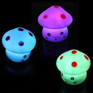 Image 1 - Nowy 1pc LED lampka nocna kolorowe grzyby naciśnij w dół dotykowy stołowa lampka nocna dla dziecka dzieci prezenty świąteczne projektowanie wnętrz