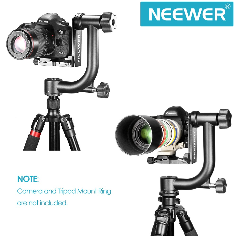 Neewer Professional Heavy Duty Metal 360 degree Panoramic Gimbal Tripod Head Arca-Swiss Standard 1/4'' Quick Release Plate