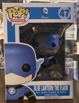 Metallic Exclusive Official Funko pop Blue Lantern: The Flash #47 Vinyl Action Figure Collectible Model Toy with Original Box