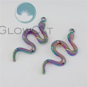 Image 2 - 30PCS Regenbogen Steampunk Schlange Anhänger Charms für Handgemachte Halskette Anhänger Unisex DIY Schmuck