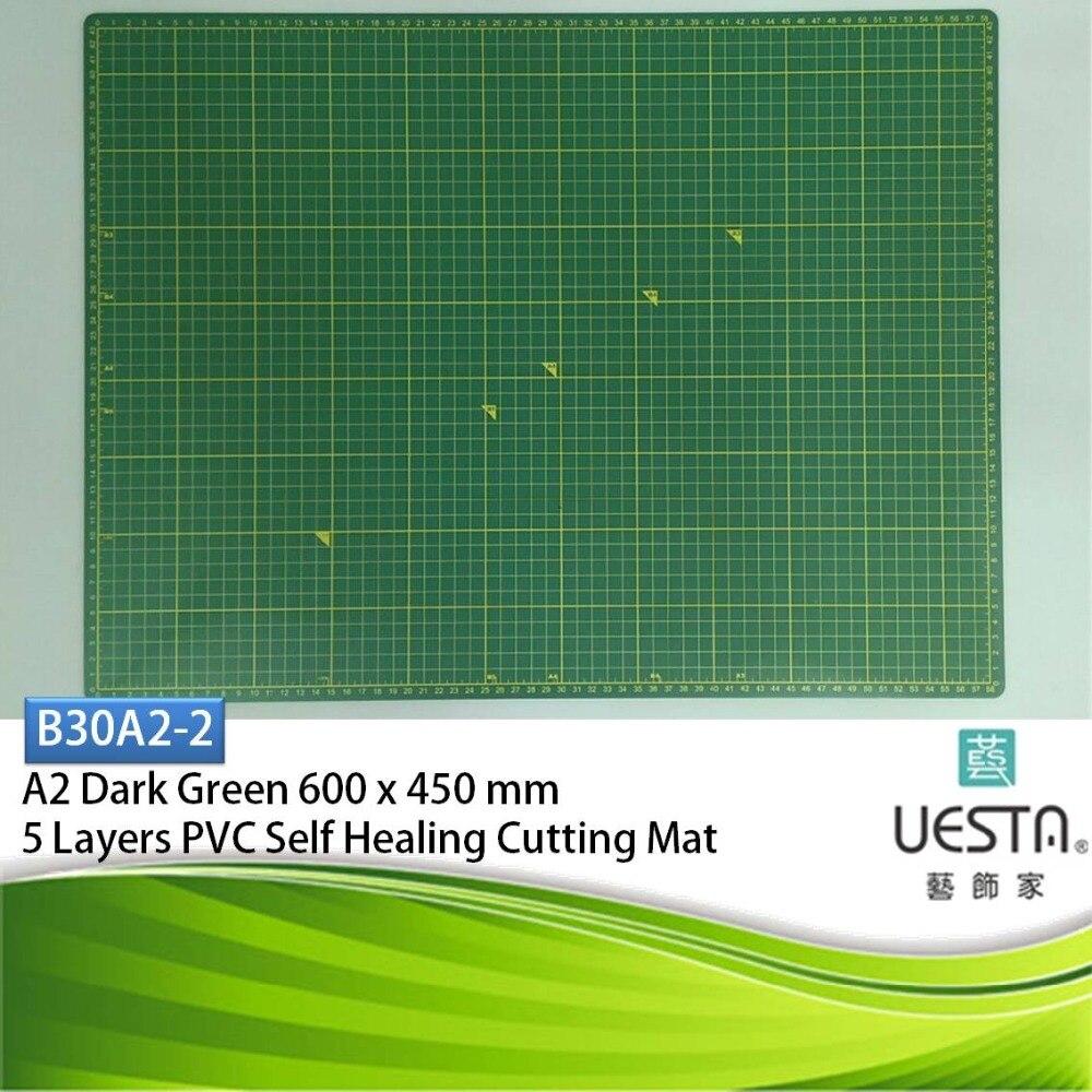 Dark Green 3 0 mm Rectangle Self Healing 5 Layers PVC Cutting Mat A2 60x45 cm