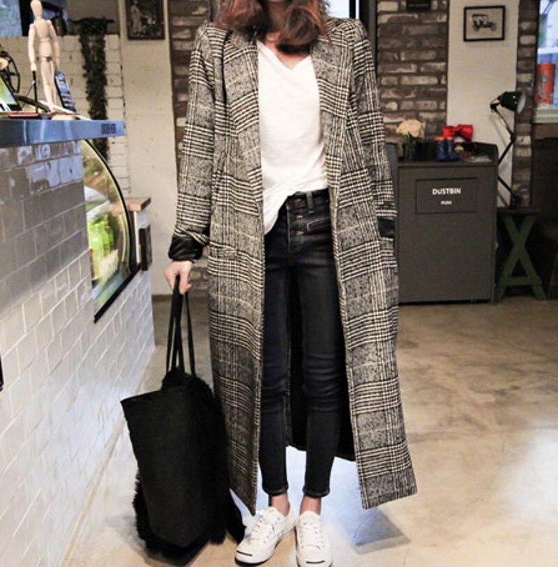 Tweed Long Poule Le 2018 Bas Automne Hiver Chaud Laine Épais Mode Survêtement Plaid Black Femmes Vers Casual Tournent Manteau az1qxzgwcS