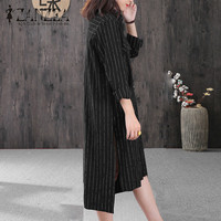 ZANZEA 2018 Autumn Women Striped Work Blusas Vestidos Fashion Lapel Neck Button Down Split Irregular Hem