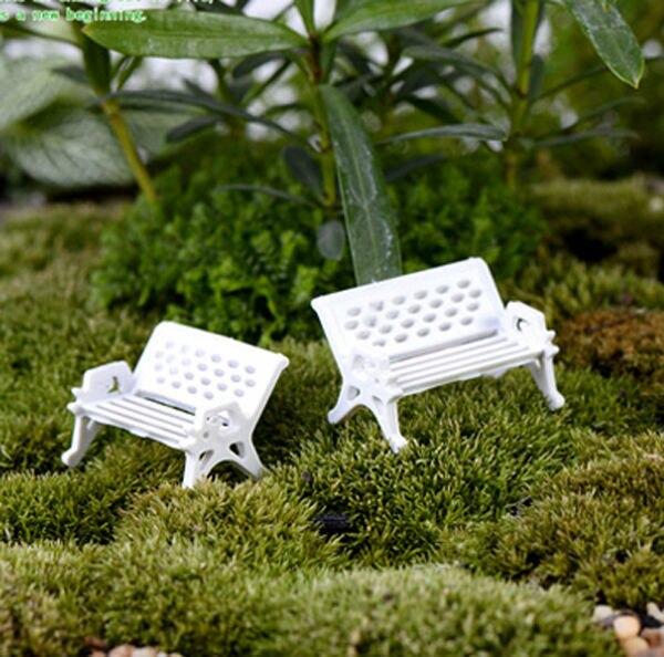 8pcs Mini White Park Chairs terrarium decoration Beach artificial ...