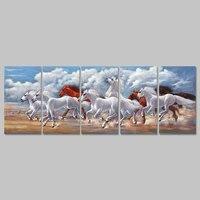 5 adet/takım Büyük Boy manzara hayvan beyaz kırmızı atlar dekorasyon tuval boyama oturma odası dağlar duvar art decor çerçevesiz