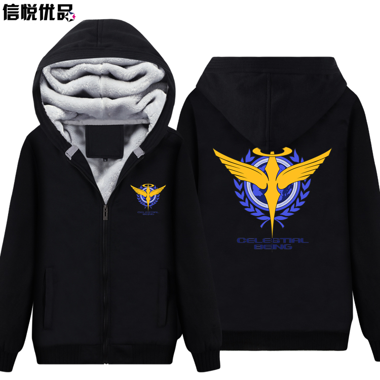 Animation around thick Hoodies Mobile Suit Gundam winter coat Teen Tide brand for men and font
