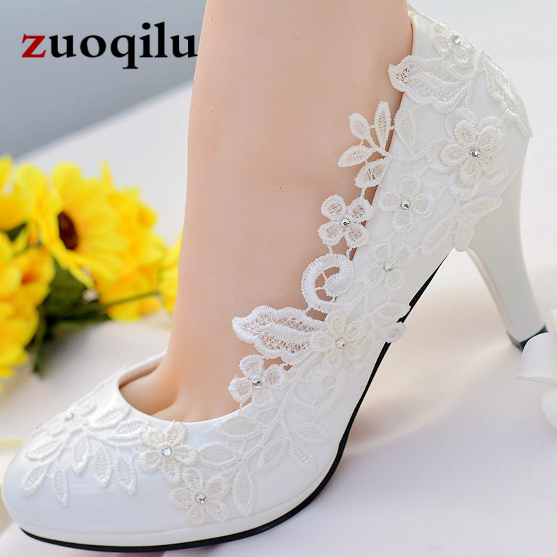Ladies Shoes Heels Pumps High-Heels White Lace Femme Talon Wedding with Women Chaussure