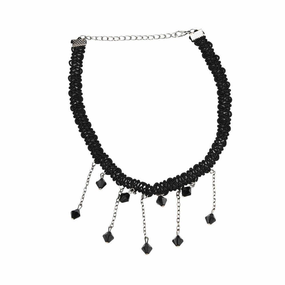 完璧な女性黒ビーズネックレスタッセルペンダントチョーカーよだれかけ襟ネックレスチャーム模擬ペンダント宝石 @ 3