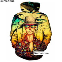 2018 winter thick warm coat hoodie sweatshirt 3D hoodie print fear smoking figure hipster round neck long sleeved pullover