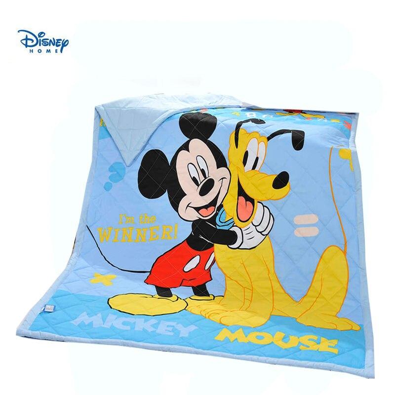 Été frais bleu jette couverture mickey mouse et ses amis couvre-lits matelassés 150*200cm 200*230cm mince couette coton shell