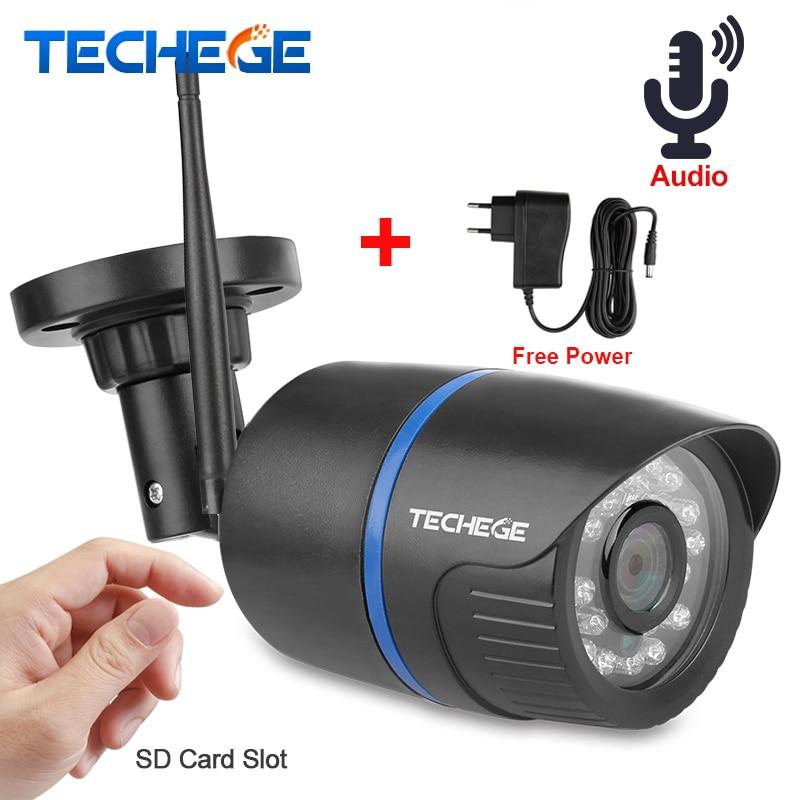 Techege 720 p WiFi cámara IP audio 1080 p HD red 1.0MP cámara inalámbrica ONVIF visión nocturna Cámara impermeable del IP adaptador libre