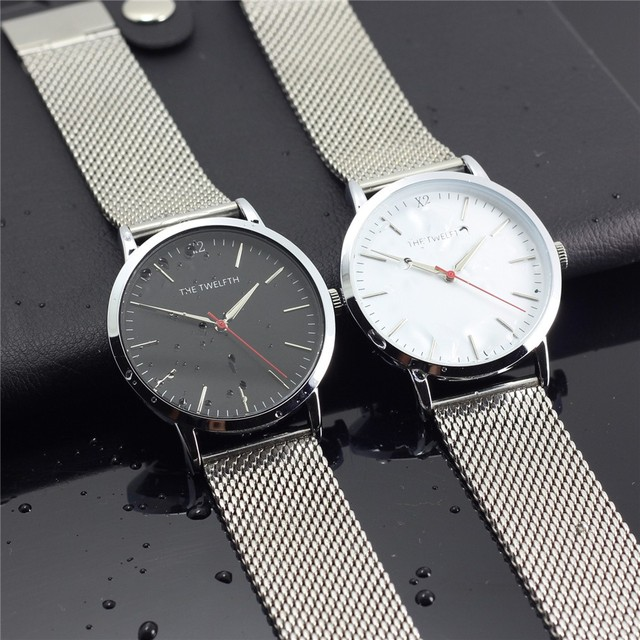Amor Relojes Superior Impermeable de Acero Inoxidable Reloj de Cuarzo de Los Hombres/Mujeres Reloj de La Manera 38 MM dial Reloj Deportivo Reloj de Plata
