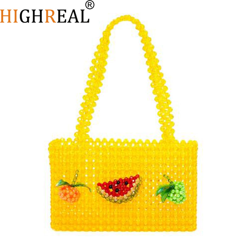 New Pearls Bag Crystal Beading Box Totes Bag Women Party Handbag 2019 Summer Vintage Luxury Brand Yellow Fruit Dropshipping