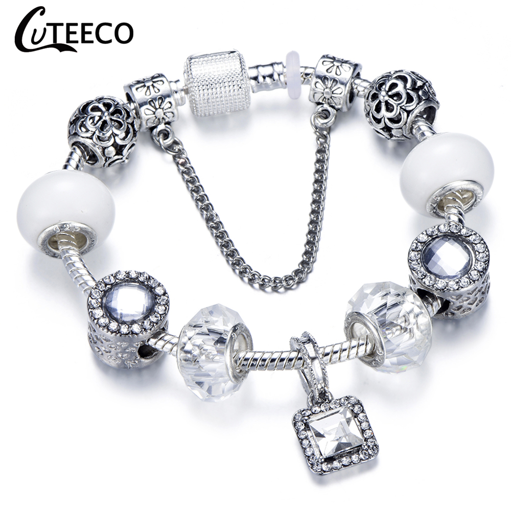 HTB1G4txbEvrK1RjSspcq6zzSXXax - CUTEECO Antique Silver Color Bracelets & Bangles For Women Crystal Flower Fairy Bead Charm Bracelet Jewellery Pulseras Mujer