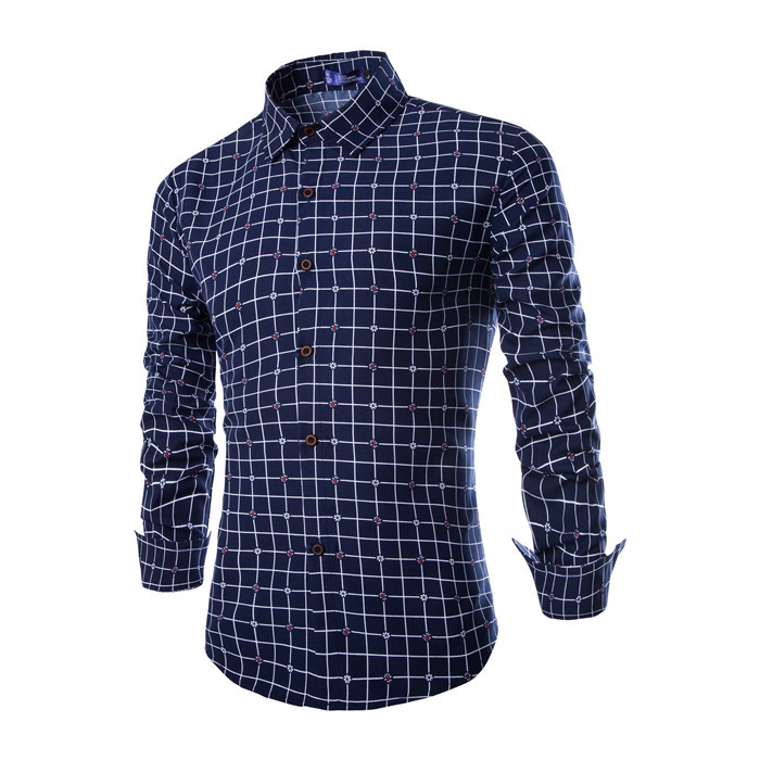 Popular navy blue dress shirt buy cheap navy blue dress for Navy blue plaid shirt