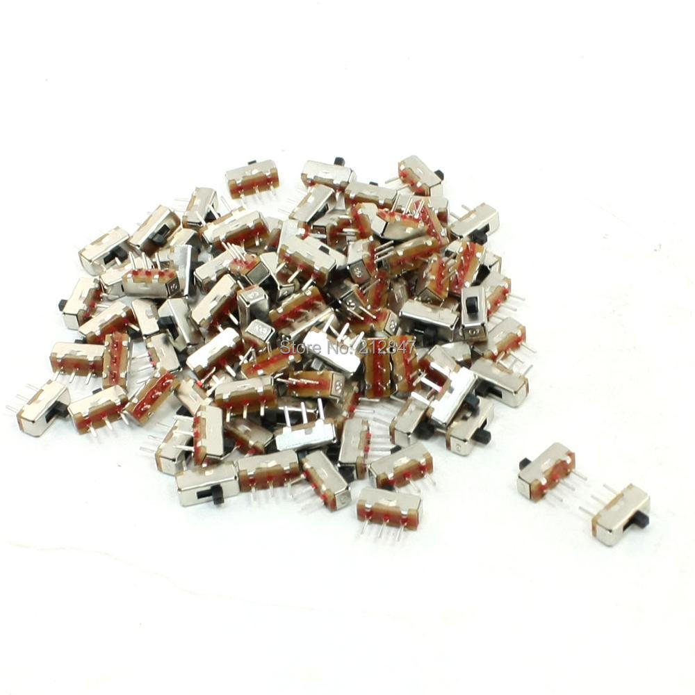 100 Pcs On/Off 3 Pin SPDT Mini PCB DC 50V 0.3A Slide Switch 8mm x 3mm 5pcs black mini round 3 pin spdt on off rocker switch snap in s018y high quality