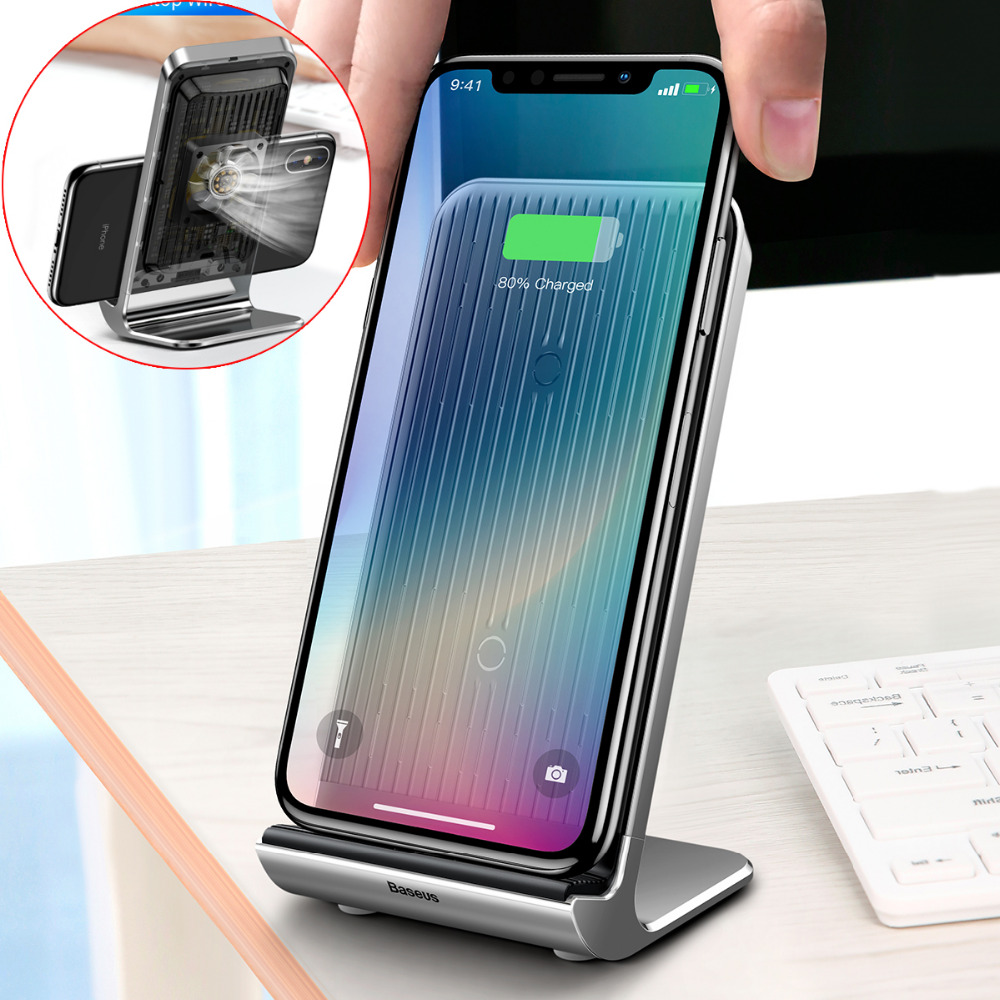 Baseus 10W Qi Wireless Charger Holder Radiating Stand with Cooling For iPhone X 10 8 Plus USB Charging For Samsung Galaxy S8 S9 qi wireless charger 10000mah power bank for iphone x 8 plus samsung note 8 s9 s8 plus s7 portable powerbank phone charger